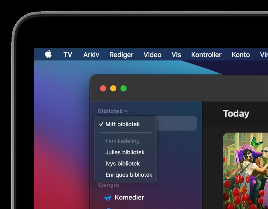 Bibliotek-skjermen i AppleTV-appen med familemedlemmers bilbioteker vist i sidepanelet.