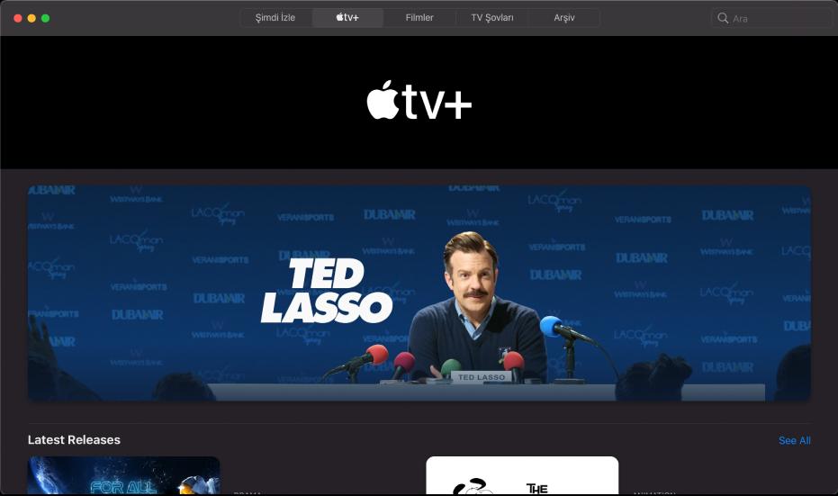 Apple TV+'ı gösteren ekran