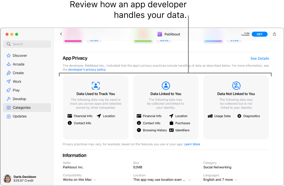 A portion of the main Mac App Store page, showing the privacy policy of the selected app's developer: Data Used to Track You, Data Linked to You, and Data Not Linked to You.