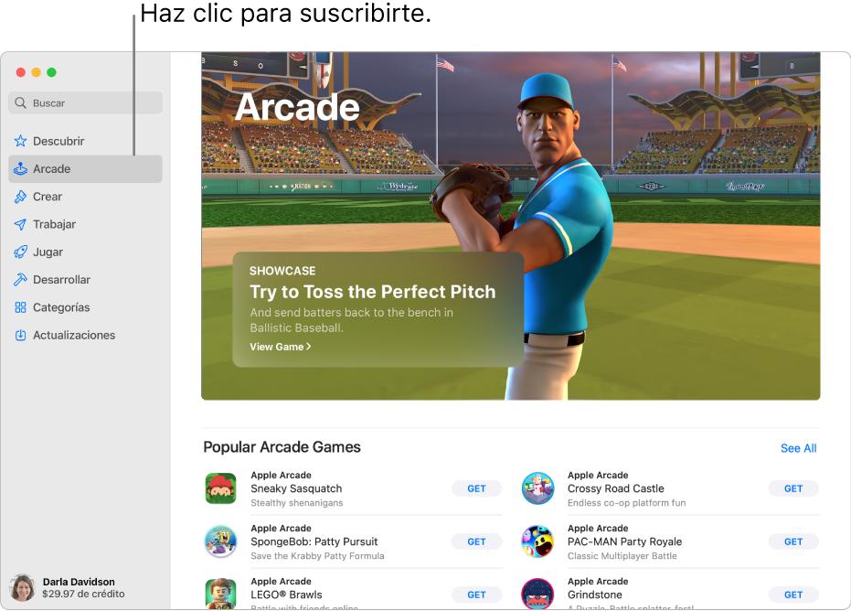 Página principal de Apple Arcade. Se muestra un juego popular en el panel a la derecha junto con otros juegos disponibles que se muestran en la parte inferior.