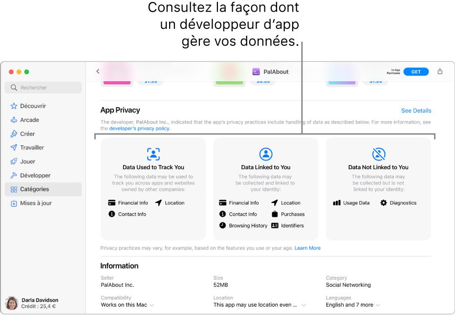 Une partie de la page principale Mac App Store, affichant l'engagement de confidentialité du développeur de l'app sélectionnée: Data Used to Track You («Données utilisées pour vous suivre»), Data Linked to You («Données liées à vous») et Data Not Linked to You («Données non liées à vous»).