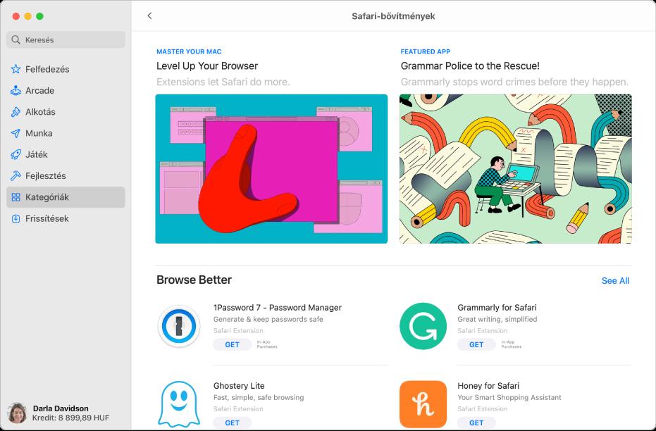 A Safari-bővítmények oldala a Mac App Store-ban. A bal oldali oldalsávon más oldalakra mutató hivatkozások láthatók: Felfedezés, Alkotás, Munka, Játék, Fejlesztés, Kategóriák és Frissítések. A jobb oldalon az elérhető Safari-bővítmények láthatók.