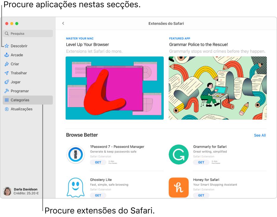 A página Extensões do Safari da Mac App Store. A barra lateral à esquerda inclui hiperligações para outras páginas: Descobrir, Arcade, Criar, Trabalhar, Jogar, Programar, Categorias e Atualizações. À direita estão disponíveis extensões do Safari.