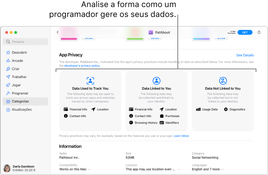 Uma parte da página principal da Mac App Store, a mostrar a política de privacidade do programador selecionado: Dados usados para seguir o utilizador, Dados associados ao utilizador e Dados não associados ao utilizador.