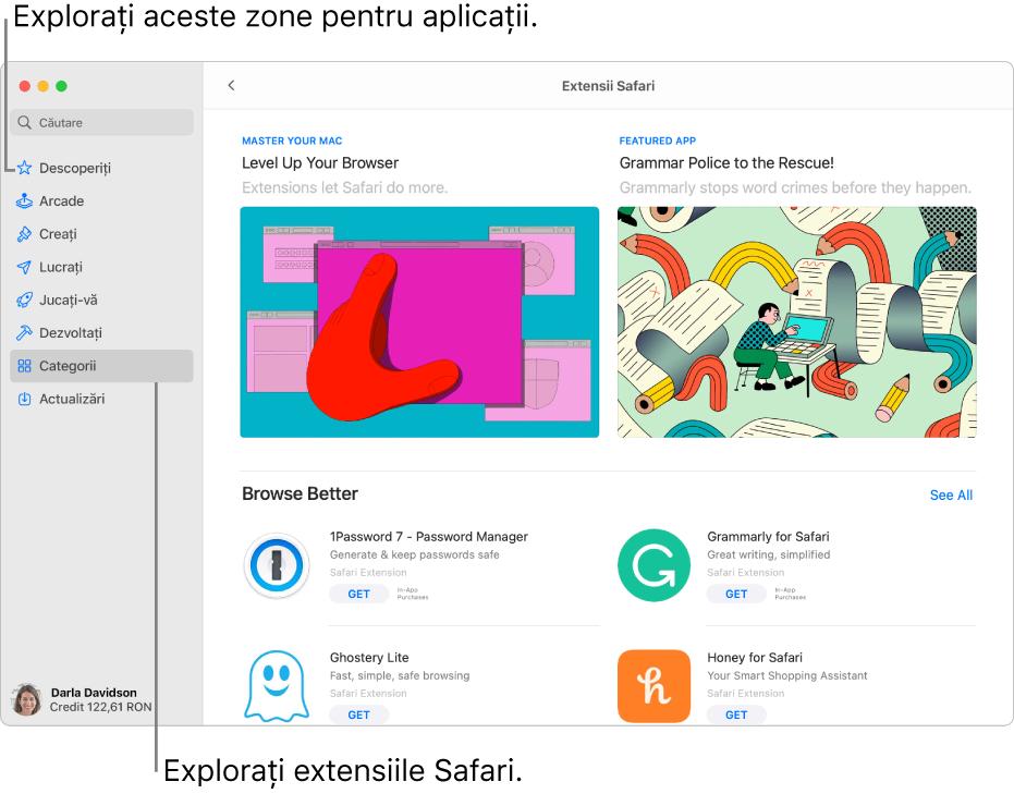 Pagina Extensii Safari din Mac AppStore. Bara laterală din stânga include linkuri către alte pagini: Descoperiți, Arcade, Creați, Lucrați, Jucați-vă, Dezvoltați, Categorii și Actualizări. În dreapta se află extensiile Safari disponibile.