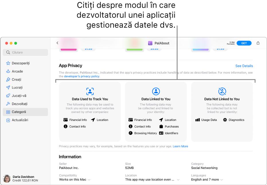 O porțiune a paginii principale MacAppStore, afișând politica de confidențialitate a dezvoltatorului aplicației selectate: Date utilizate pentru a vă urmări, Date asociate cu dvs. și Date neasociate cu dvs.