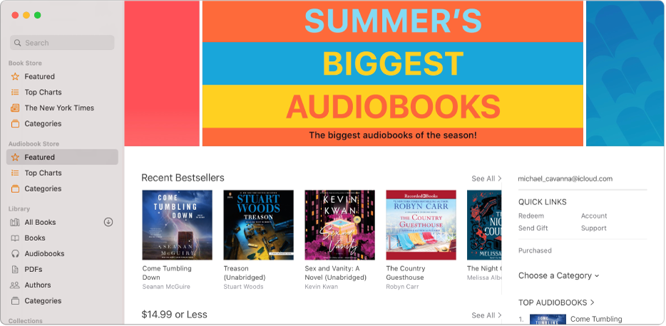 The main window of the Audiobook Store, showing featured audiobooks.
