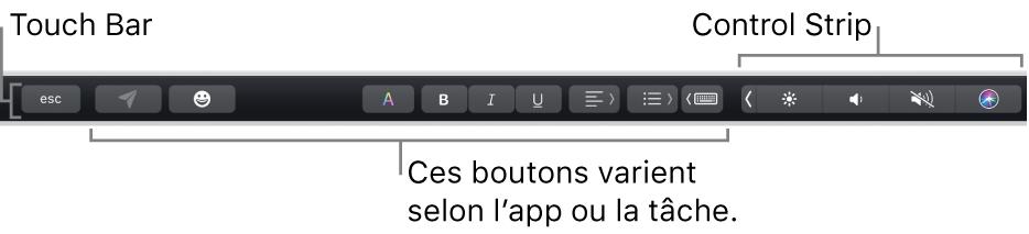La TouchBar, en haut du clavier, affichant la ControlStrip développée à droite ainsi que des boutons qui varient selon l'app ou la tâche.