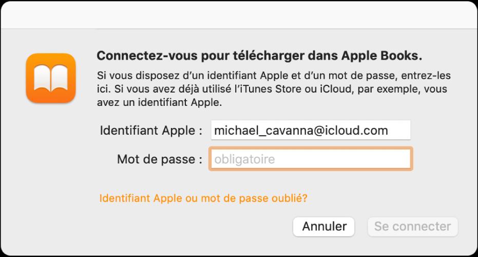 La zone de dialogue permettant de se connecter à AppleBooks à l'aide d'un identifiant Apple et d'un mot de passe.