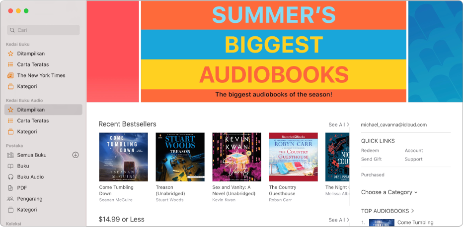 Tetingkap utama Kedai Buku Audio, menunjukkan buku audio yang ditampilan.