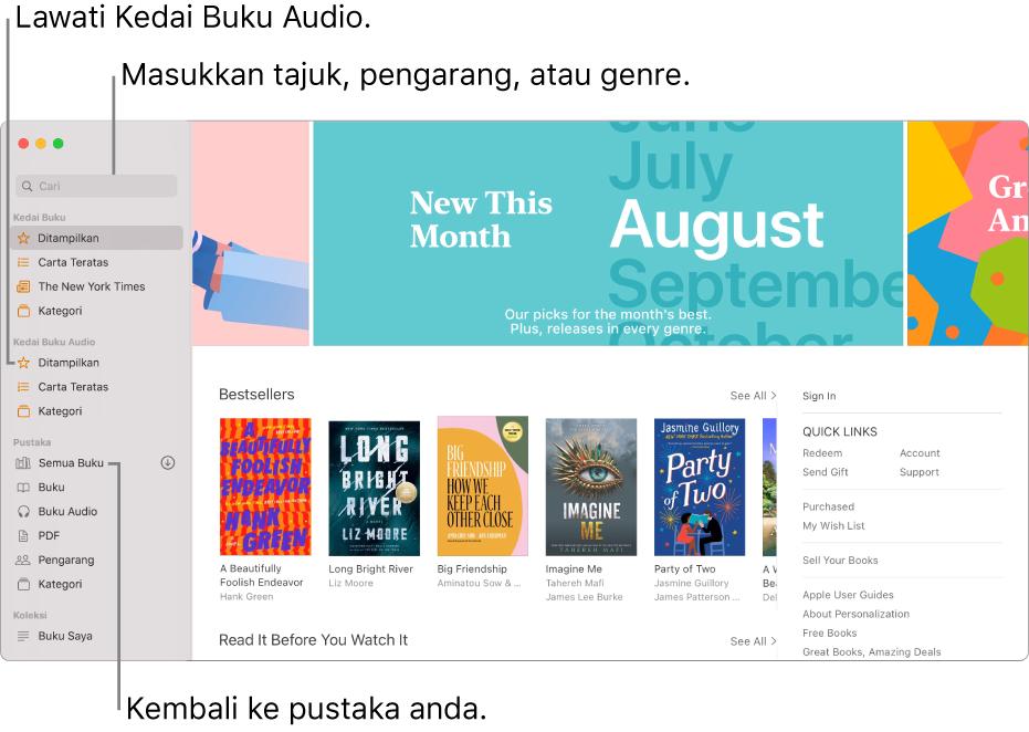 Bar sisi dalam Buku. Untuk melayari Kedai Buku, klik pada sebarang item di bawah Kedai Buku. Untuk melayari Kedai Buku Audio, klik pada sebarang item di bawah Kedai Buku Audio. Untuk mencari, masukkan tajuk, pengarang, atau genre dalam medan carian. Untuk kembali ke pustaka anda, klik Semua Buku.