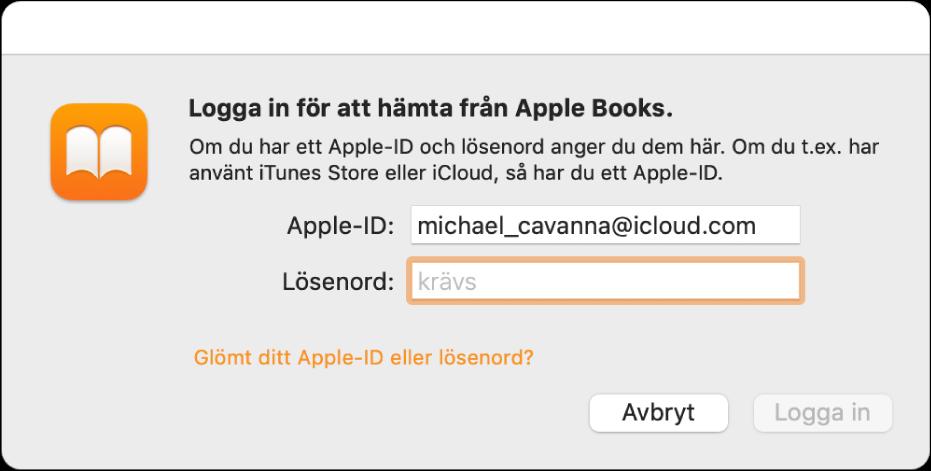 Dialogrutan för inloggning på Apple Books med ett Apple‑ID och lösenord.
