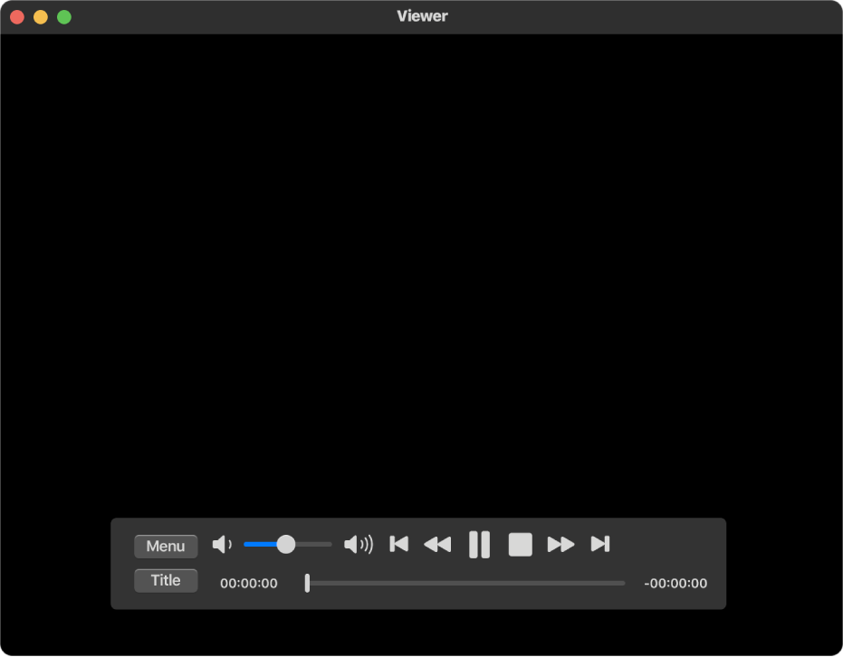 The DVD Player window and the playback controls, with the volume slider in the top-left area and the timeline at the bottom. Drag the progress handle in the timeline to go to a different place in the movie.