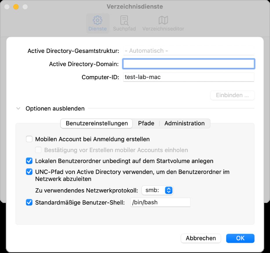 Das Konfigurationsfenster für Active Directory mit erweitertem Bereich für Optionen