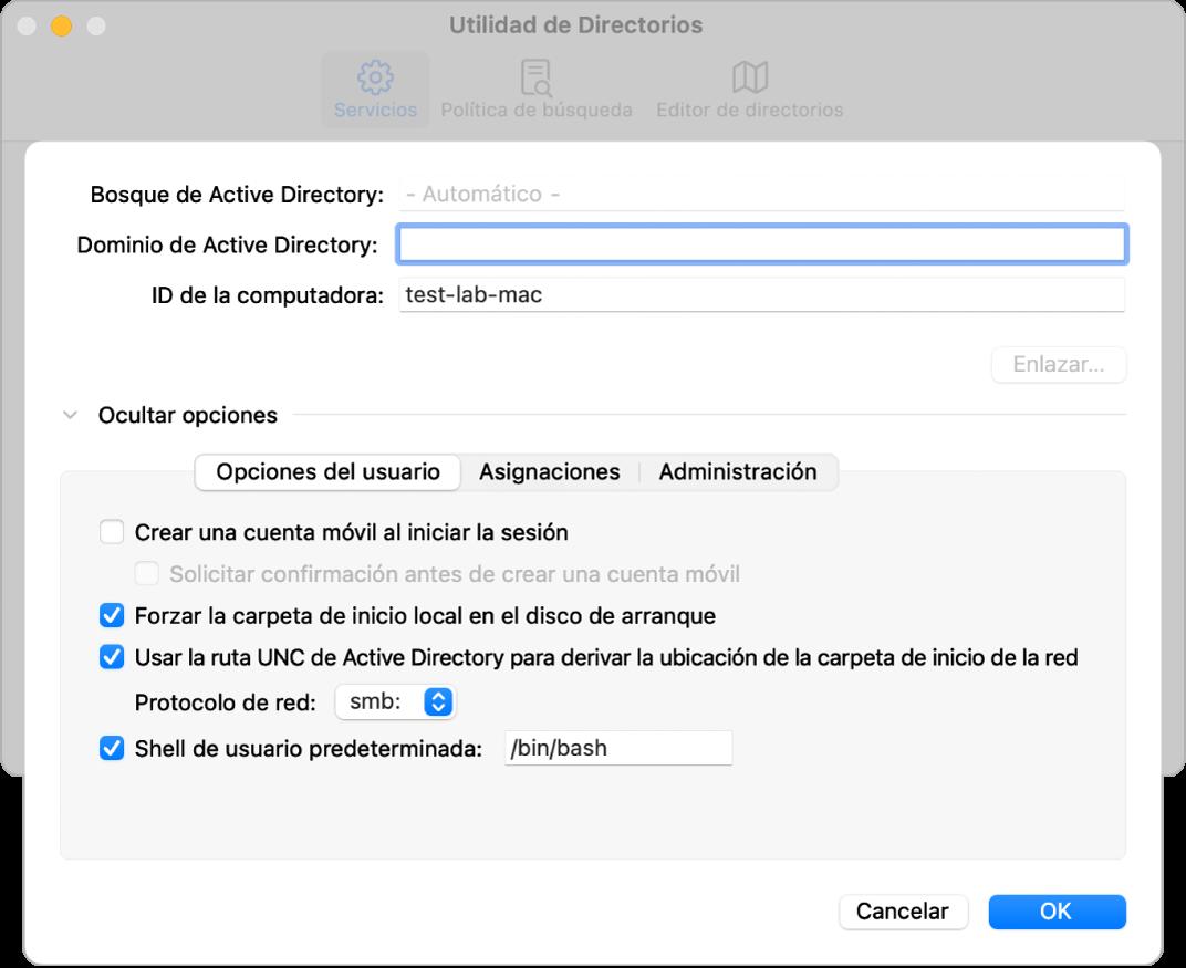 El cuadro de diálogo de configuración de Active Directory con la sección de opciones ampliada.