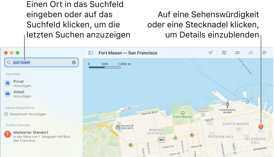 Gib einen Ort in das Suchfeld ein oder klicke auf das Suchfeld, um die letzten Suchen anzuzeigen. Klicke auf eine Sehenswürdigkeit oder eine Stecknadel, um Details einzublenden.