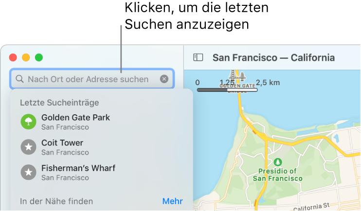 Das Suchfeld links oben, unter dem einige der letzten Sucheinträge angezeigt werden.