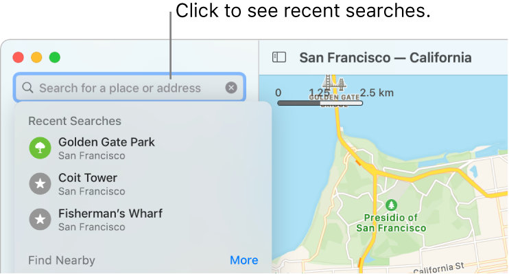 The search field in the upper left, with several recent searches shown below.