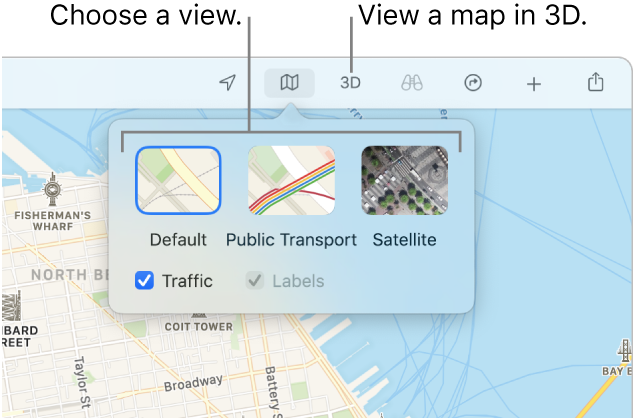 A map of San Francisco displaying map view options: Default, Transit, Satellite and 3D.