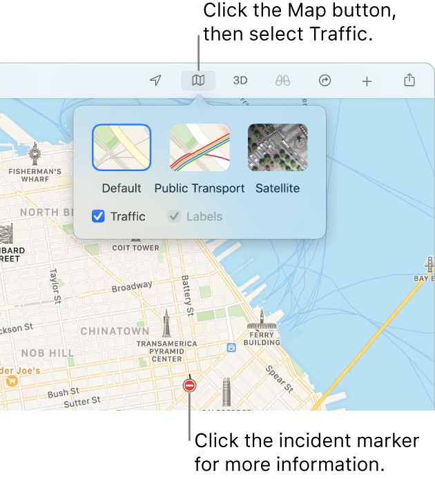 A map of San Francisco with map options displayed, the Traffic tickbox selected and traffic incidents on the map.