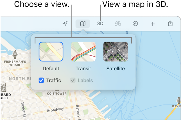 A map of San Francisco displaying map view options: Default, Transit, Satellite, and 3D.