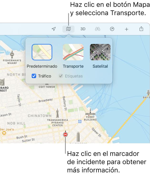 Un mapa de San Francisco mostrando las opciones del mapa, la casilla Tráfico seleccionada e incidentes de tráfico en el mapa.