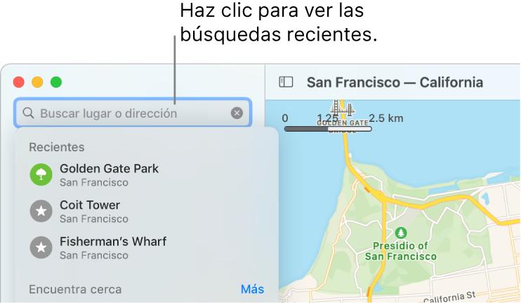 El campo de búsqueda en la parte superior izquierda mostrando varias búsquedas recientes debajo de él.