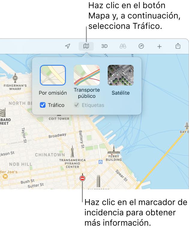 Un mapa de San Francisco donde se muestran opciones de mapa, la opción Tráfico seleccionada e incidencias de tráfico en el mapa.