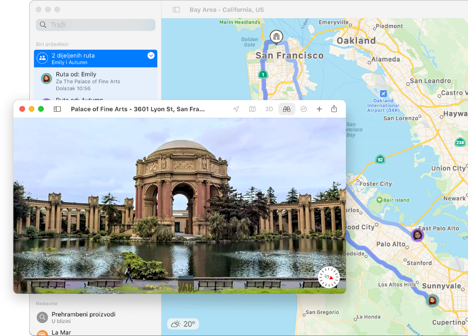 Karta San Francisca, uključujući interaktivni 3D prikaz lokalne atrakcije.