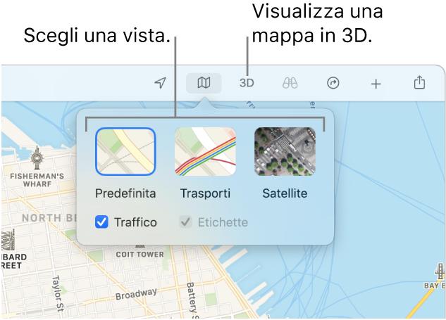 Una mappa di San Francisco che mostra le opzioni di visualizzazione della mappa: Default, Trasporti, Satellite e 3D.