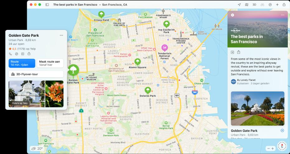 Een kaart van San Francisco. Op de kaart bevinden zich aan de linker- en rechterkant gidsen voor restaurants en reizen.