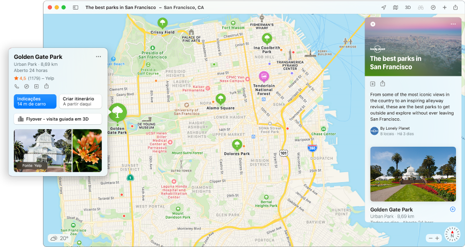 Um mapa de São Francisco. Em redor do mapa, à esquerda e à direita, encontram-se guias de comida e viagem.