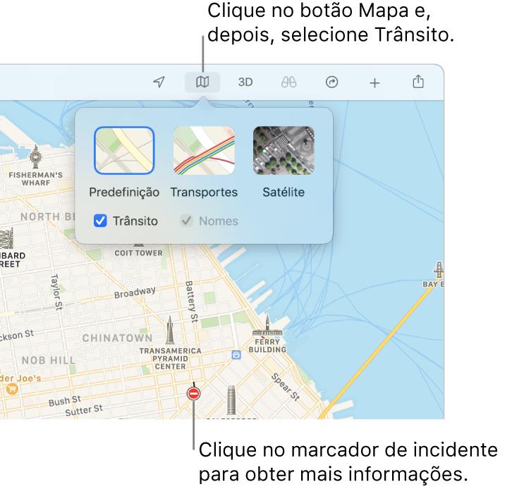 Um mapa de São Francisco com opções de mapa apresentadas, a opção Transportes selecionada e incidentes de trânsito no mapa.