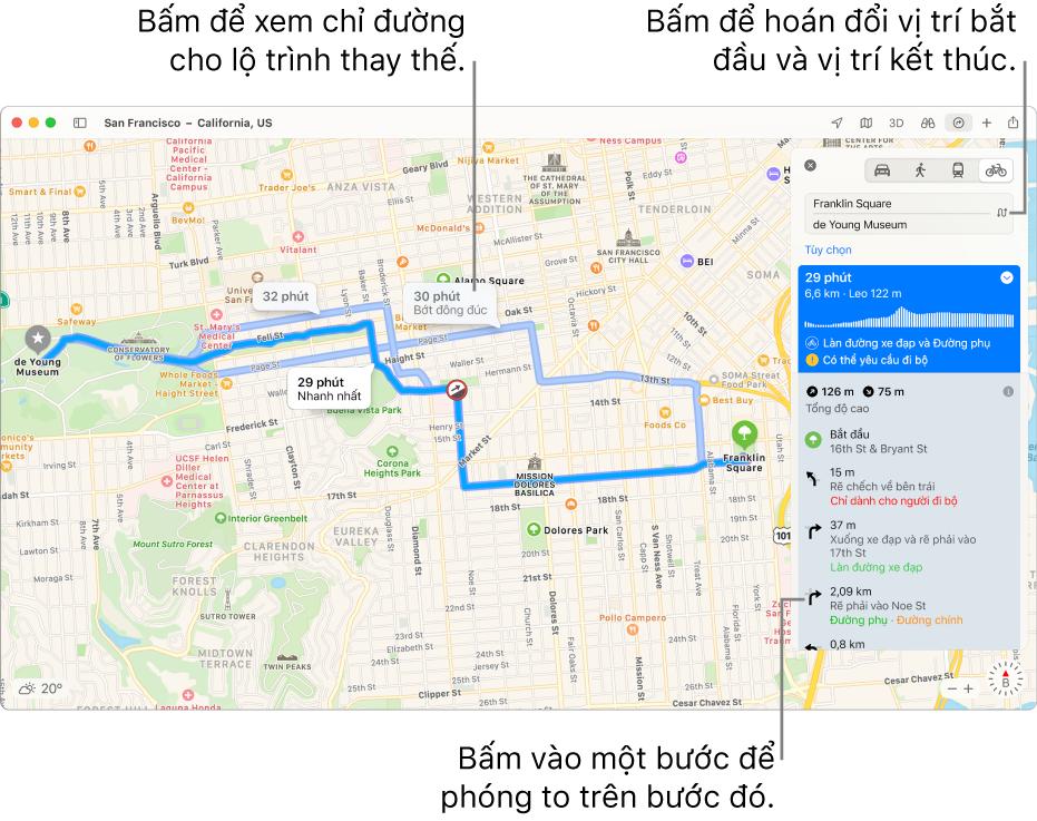 Một bản đồ San Francisco với các chỉ đường cho lộ trình đi xe đạp, bao gồm độ cao và lưu lượng giao thông.