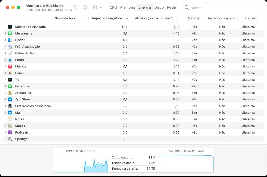 O painel Energia do Monitor de Atividade. O painel mostra uma lista de apps, com informações organizadas em colunas sobre o uso de energia por cada um deles. Na parte inferior da janela encontra-se um gráfico que mostra informações sobre o impacto energético geral.