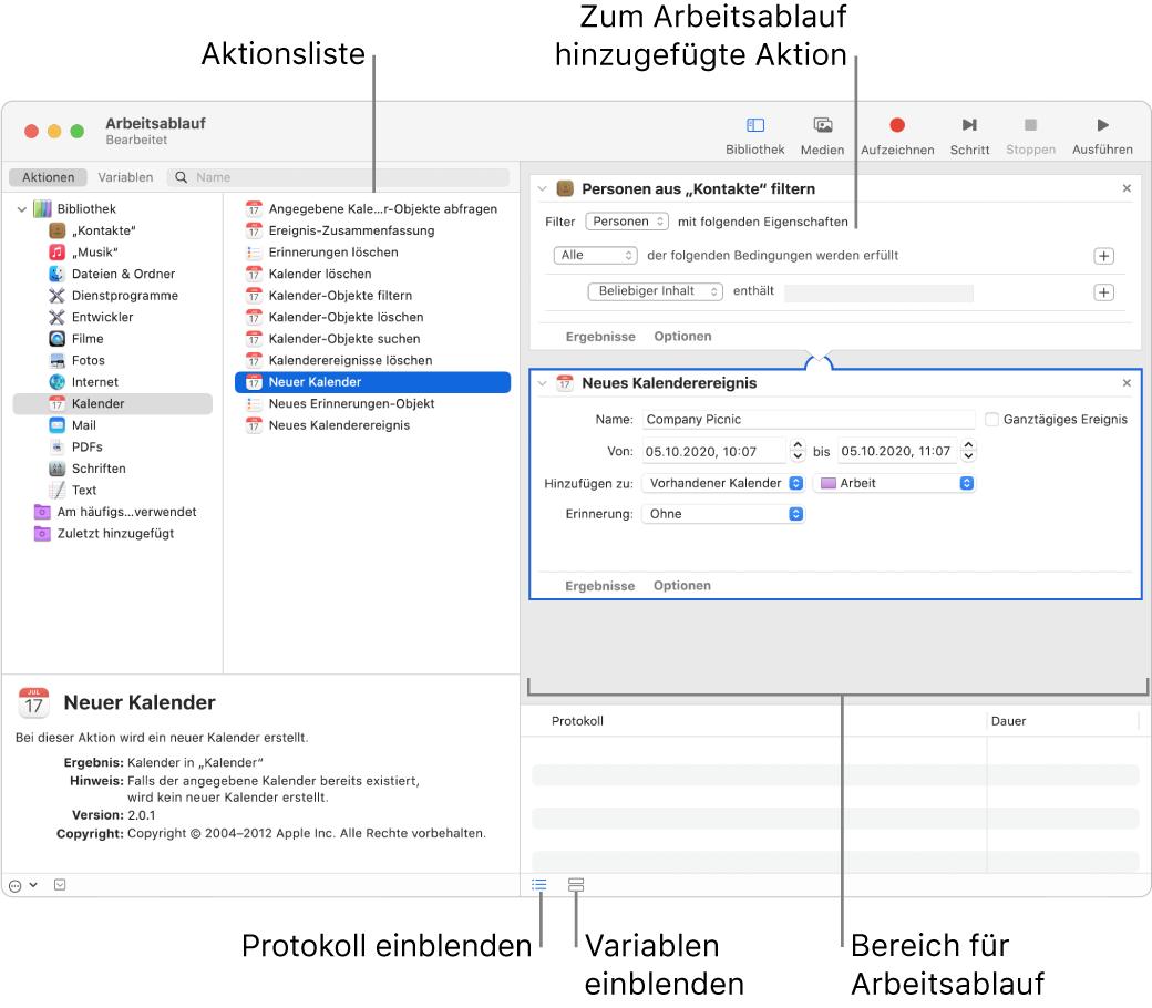 """Das Automator-Fenster Die Bibliothek erscheint ganz rechts und enthält eine Liste der Apps, für die Automator Aktionen bereitstellt. Die App """"Kalender"""" ist in der Liste ausgewählt und für Kalender verfügbare Aktionen sind in der rechten Spalte aufgelistet. Auf der rechten Seite des Fensters befindet sich ein Arbeitsablauf, dem eine Kalenderaktion hinzugefügt wurde."""