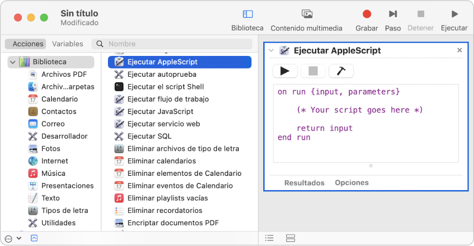 La ventana de Automator con una acción Ejecutar AppleScript.