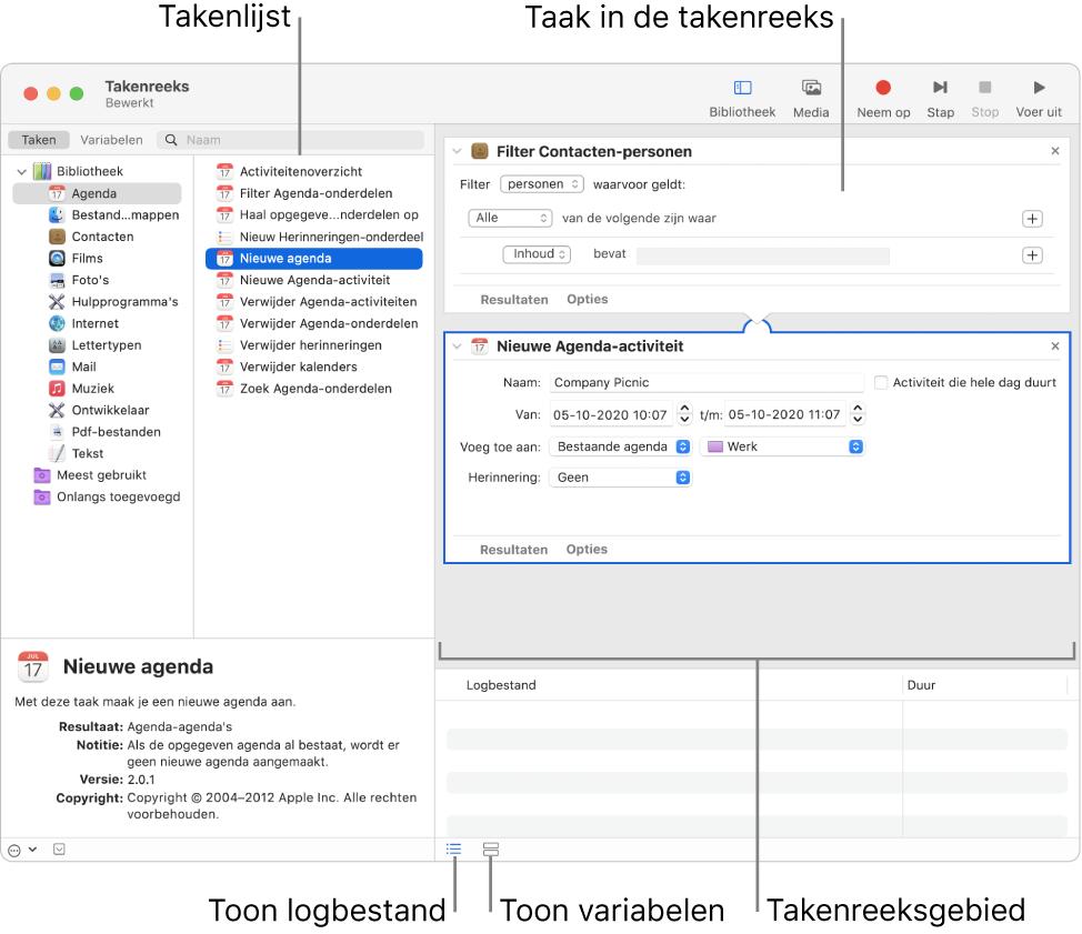 Het Automator-venster. In de bibliotheek uiterst links vind je de apps waarvoor Automator taken biedt. De app Agenda is geselecteerd in de lijst en de taken die in Agenda beschikbaar zijn, staan in de kolom aan de rechterkant. Rechts in het venster staat een takenreeks waaraan een Agenda-taak is toegevoegd.