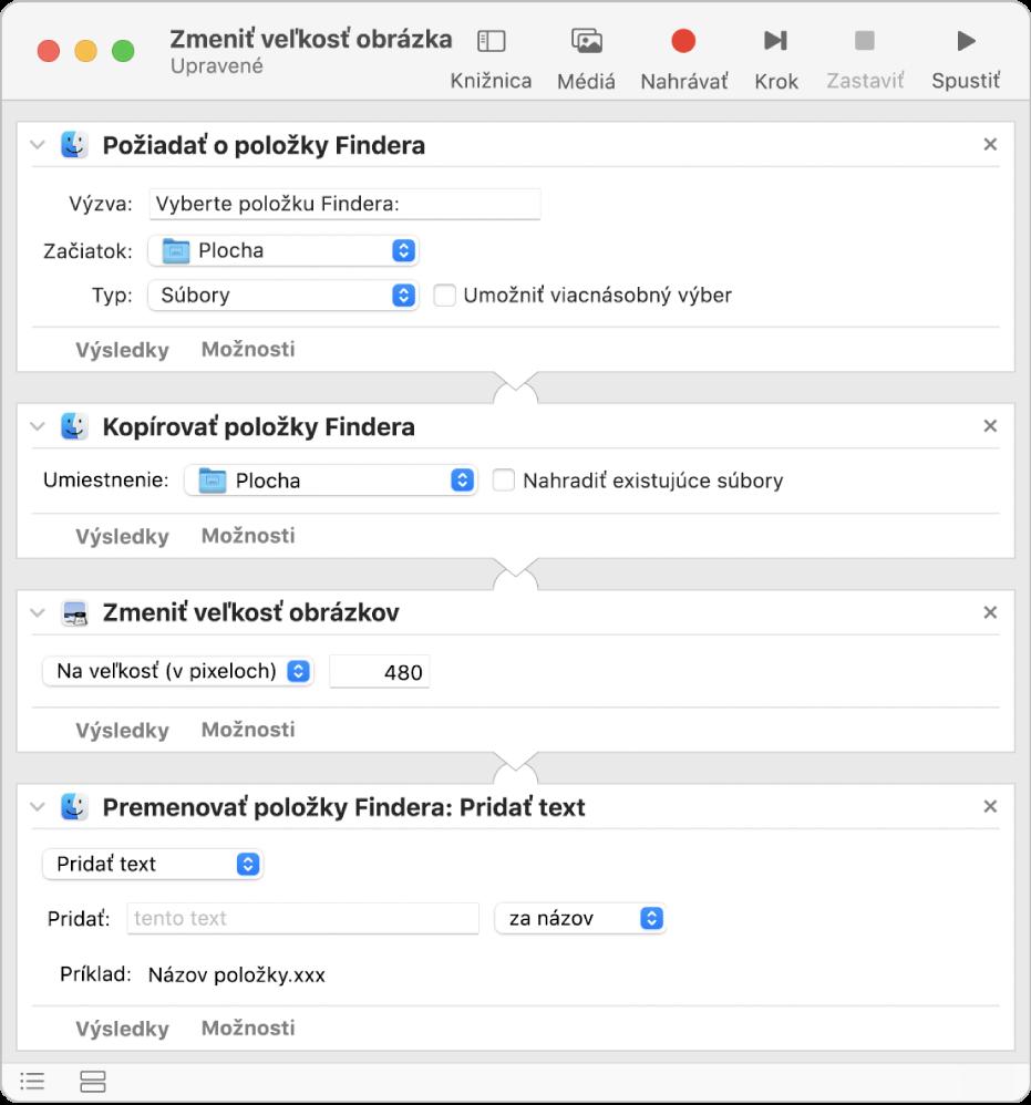 Workflow aplikácie Automator so štyrmi akciami.