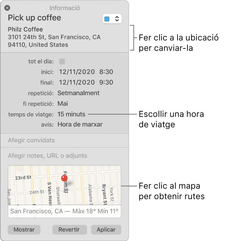 """Finestra d'informació d'un esdeveniment, amb el punter sobre el menú desplegable """"Temps de viatge"""". Selecciona un temps de viatge al menú desplegable. Fer clic a la ubicació per canviar‑la. Fer clic al mapa per obtenir la ruta."""