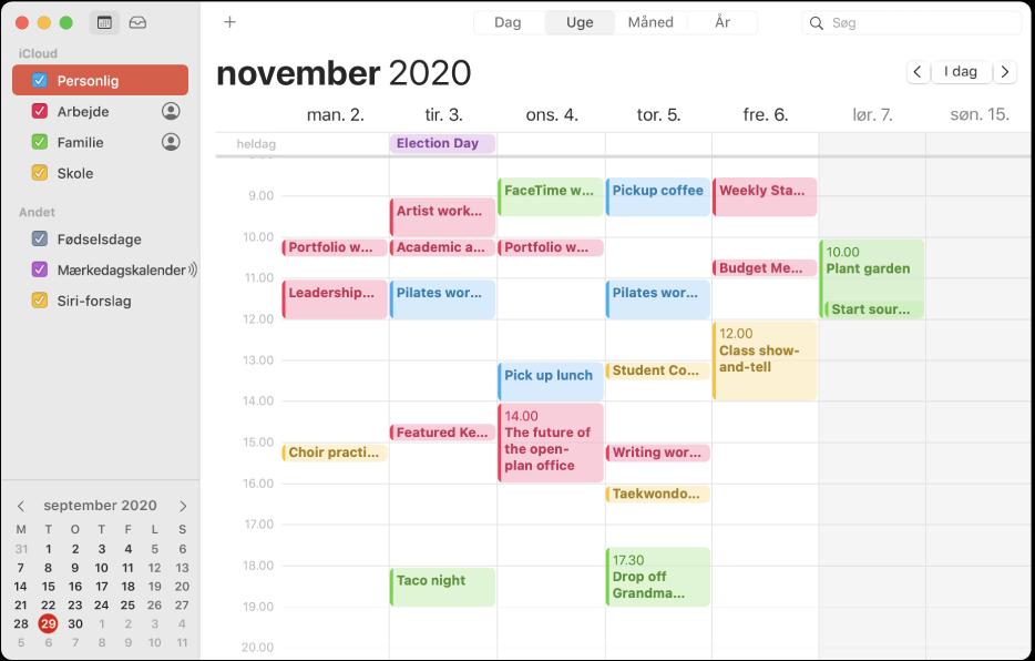 Et Kalendervindue i Månedsoversigt viser farvekodede personlige kalendere samt arbejds- og familiekalendere i indholdsoversigten under overskriften iCloud-konto.