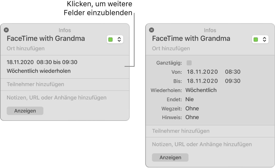 Infofenster für ein Ereignis mit ausgeblendeten Details (links) und Infofenster für dasselbe Ereignis mit Details zur Dauer (rechts)