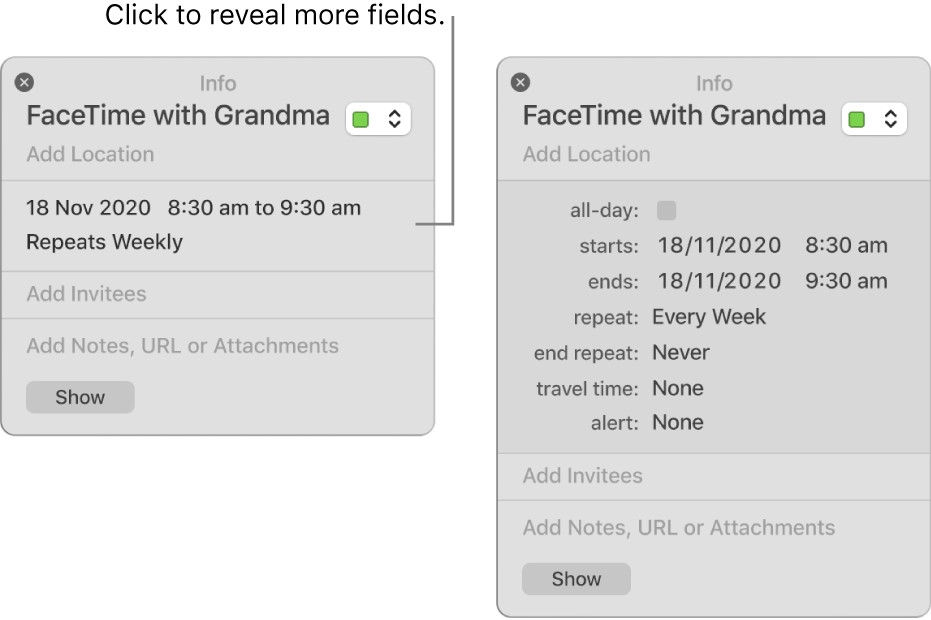 The image on the left shows an unexpanded Info window for an event. On the right, the Info window for the same event is expanded to show additional fields such as starts, ends, repeat and travel time.