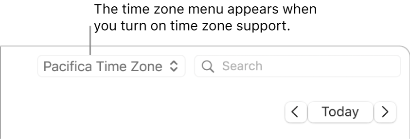 Time zone menu appears to the left of the search field when you turn on time zone support