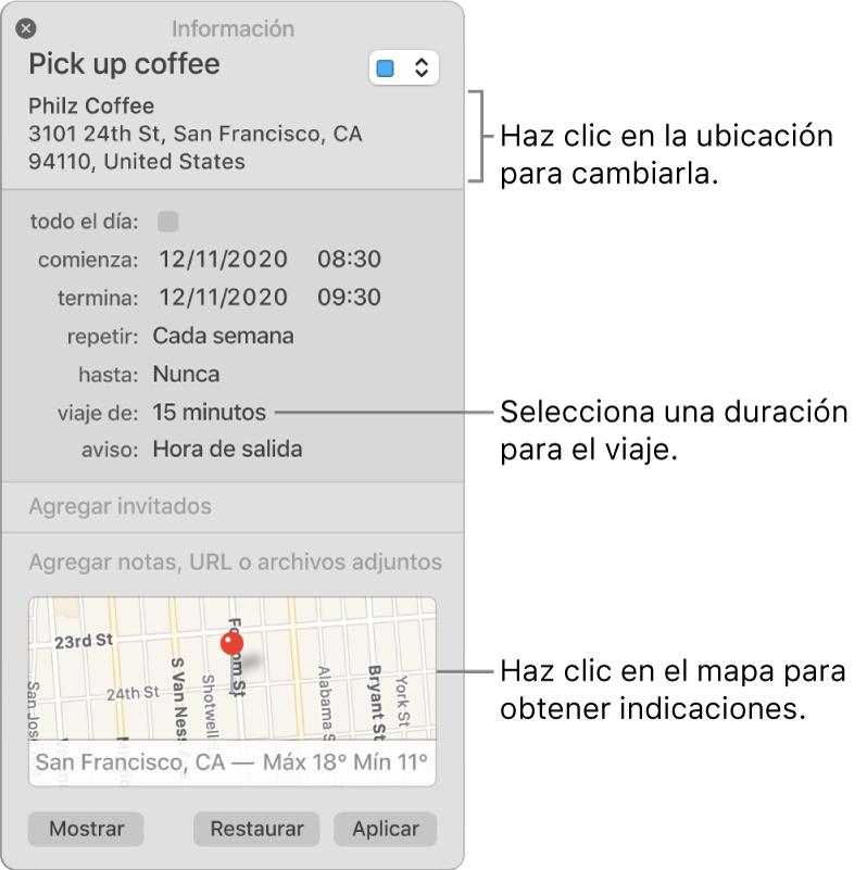 """Ventana de información de un evento, con el puntero sobre el menú desplegable """"Duración del viaje"""". Selecciona una duración de viaje en el menú desplegable. Haz clic en la ubicación para cambiarla. Haz clic en el mapa para obtener indicaciones"""