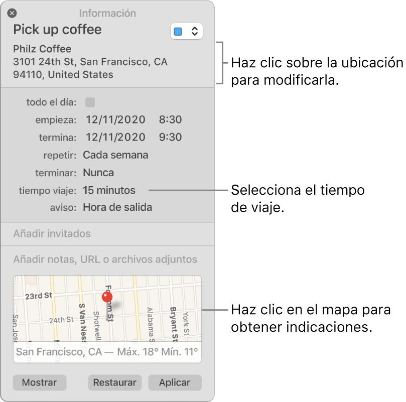 """Ventana de información de un evento con el puntero sobre el menú desplegable """"Tiempo de viaje"""". Selecciona un tiempo de viaje en el menú desplegable. Haz clic en la ubicación para cambiarlo. Haz clic en el mapa para obtener las rutas."""