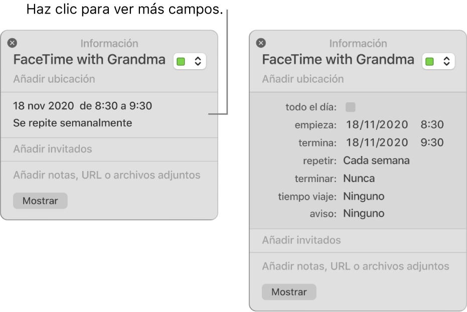Ventana de información de un evento con los detalles ocultos (izquierda) y ventana de información del mismo evento con los detalles de duración visibles (derecha).