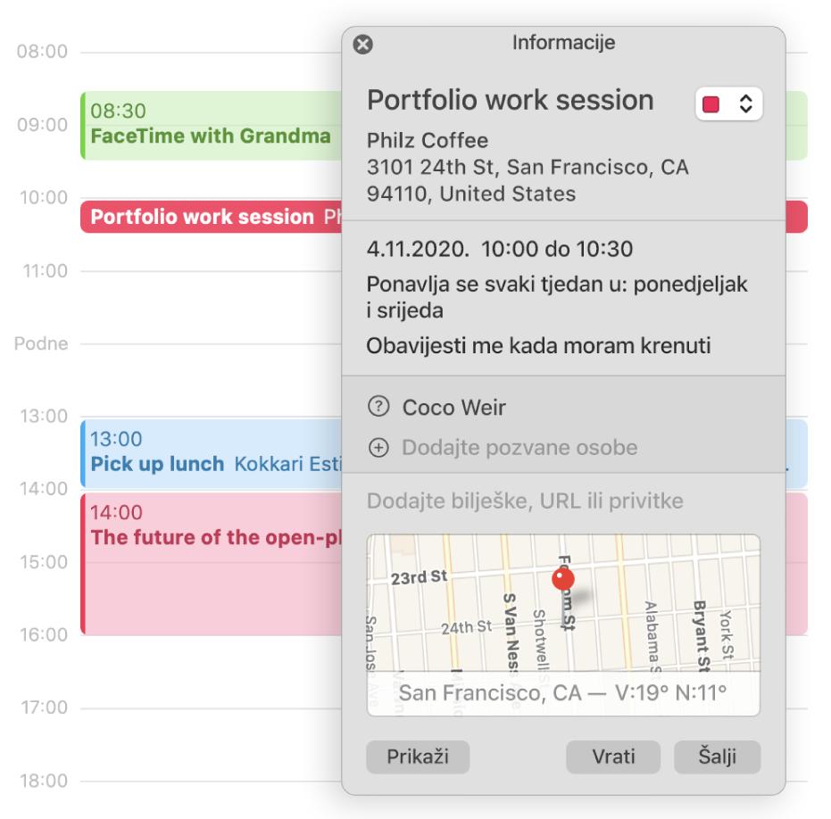 Prozor s informacijama za događaj koji prikazuje uzvanike i lokaciju na maloj karti.