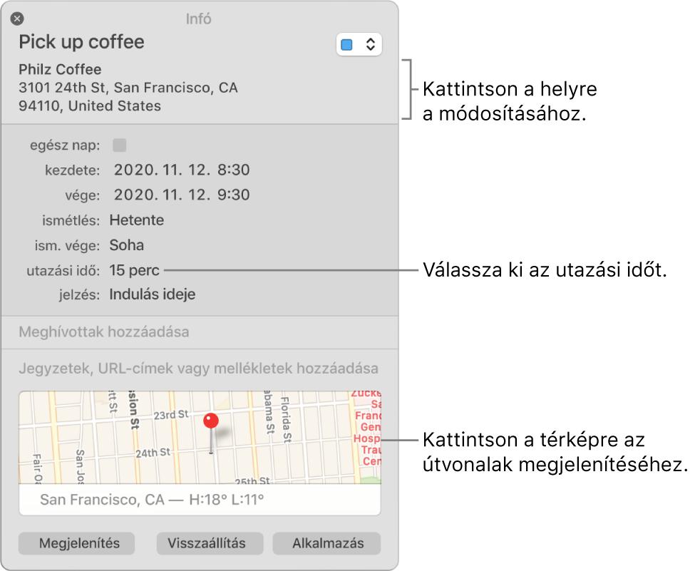 Esemény információs ablaka; a mutató az Utazási idő felugró menün áll. Válasszon utazási időt a felugró menüből. Kattintson a helyre annak módosításához. Útbaigazítás kéréséhez kattintson a térképre