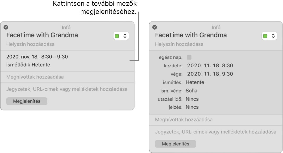 Esemény információs ablaka; a részletek rejtve vannak a bal oldalon; ugyanazon esemény információs ablaka időtartamadatokkal (a jobb oldalon).